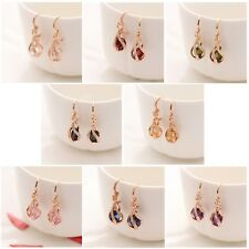 Rose Gold Colour Crystal Twisted Pear Drop Water Drop Dangle Drop Earrings Gift