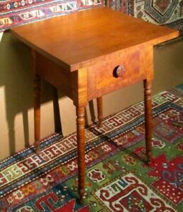 ANTIQUE AMERICAN TIGER MAPLE & CHERRY OHIO WORK TABLE SIGNED & DATED 1862