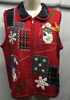 Studio Joy Ugly Christmas Sweater Vest Size M Red Snowman Design Original Plaid