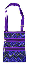 Jenzys Womens Girls Teens Purple Chevron Mini Crossbody Handbag Purse