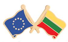 Lituanie & Union Européenne Eu Drapeau Amitié Courtoisie Plaqué or Broche Badge
