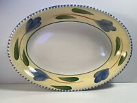 Maxam La Primula Large Oval Serving Platter Floral Yellow Blue Made In Italy