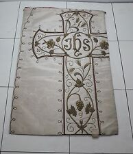 Antique French Vestment Chasuble Floral IHS Embroidered Panel 1920's