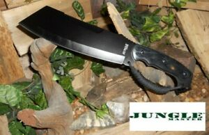 "16"" JUNGLE MASTER TACTICAL BLACK MATTE CANE MACHETE W/ PAKKAWOOD HANDLE + SHEATH"