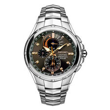 New Seiko Coutura Solar Chronograph Stainless Steel Diamond Men's Watch SSC561