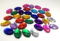 50 Flatback Acrylic Rhinestone Oval Gem Beads 18X25mm No Hole Pick Your Color