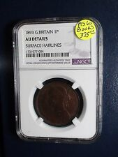 1893 Great Britain One Penny NGC AU Details 1P Coin BUY IT NOW