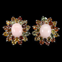 Oval Pink Opal 10x8mm Sapphire 14K White Gold Plate 925 Sterling Silver Earrings