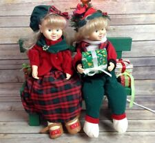 "Vintage Christmas Animated Moving Boy Girl Children on Bench Carolers Elves 20"""