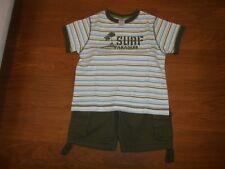 Gymboree Global Surf green cargo shorts & matching shirt outfit set size 4