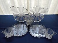 Jeannette Glass 4 Clear Dewdrop Snack Plate & 6 ounce Cup Sets
