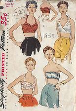1953 Vintage Sewing Pattern B30 BRA TOPS (1220)