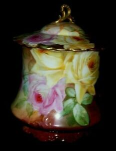 Impressive JPL France/Jean Pouyat Limoges HP Biscuit Jar-Roses Galore - Art.Sgnd