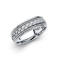 Solid 14k White Gold Band Wedding Ring Rope Braided Satin Comfort Men Women 6 mm