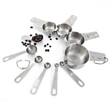 10 Piece Measuring Cups And Spoons Set, Sturdy Stainless Steel 4 Measuring Cups