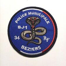 Ecusson Patch Police Municipale Béziers BJ1 à Scratch ou à Coudre 8 cm