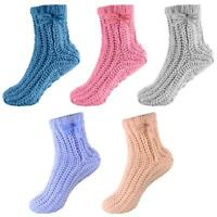 Womens Ladies Undercover Chenille Chunky Knit Comfy Slipper Bed Socks with Grips