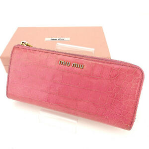 miumiu Wallet Purse Long Wallet Pink Gold Woman Authentic Used Y7433