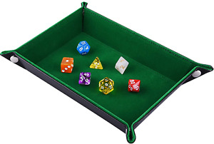 UK Double Sided Dice Tray Folding Rectangle PU Leather And Dark Green Velvet