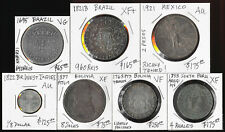 7 OLD BRAZIL MEXICO BOLIVIA PERU WEST INDIES COINS (1695-1921) CV $1000+ N0 RSRV