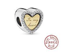 """💖 Charm Anhänger """"Herz aus Gold""""  925 Silber kompatibel mit Pandora Armband 💖"""