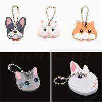 Cute Animal Mouse Hamster French Bulldog Key Cover Cap Keychain Keyring PVC