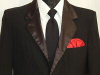 Vtg 60's Men FORMAL Jacket BLACK TUX SATIN Sport Coat Wool Blazer TUXEDO 36 R