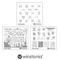 Winstonia 3pcs Halloween Nail Stamp Image Plates Set Easy Stamping Manicure Kit