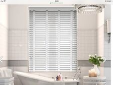 Blind2GO faux wooden blind Silky White with decorative tape,