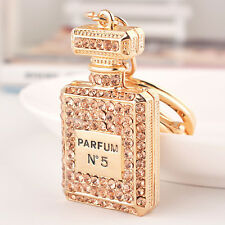 Perfume Bottle Shaped 18k GP Keychain Micro-Pave Crystal Parfum No.5 NEW