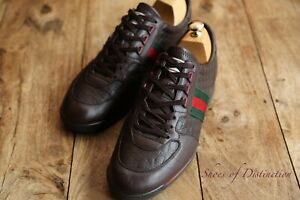 Men's Gucci Brown Leather Monogram GG Trainers Sneakers Shoes UK 8 EU 42 US 9
