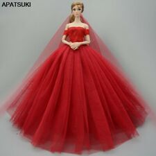 "Red Fashion Dress For 11.5"" Doll Clothes Outfits Party Gown Wedding Dresses 1/6"