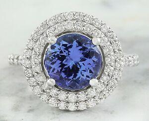4.34 Carat Natural Tanzanite 14K Solid White Gold Luxury Diamond Ring