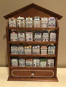 Lenox Spice Village 24 Porcelain Jar Set Complete with Display Shelf Rack