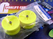 Team Associated 6002 RC10 Worlds Car Rear 2.2 Yellow 6805Y Wheels w Locknuts NEW