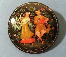 1991 Vintage Russian Lacquer Pin Brooch from Palekh - Signed by Artist, USSR