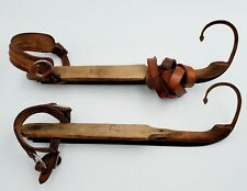 2- Elegant 1800s Primitive Wooden Ice Skates Curl Front Blade Leather Straps 14""