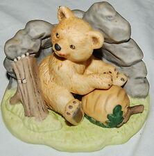 Franklin Porcelain 1984 Woodland Surprises Bear Figurine Jacqueline Smith