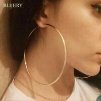 Extra Large Real Gold Plated Round Hoop Earrings Gold Layered