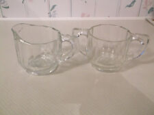 Vintage clear glass sugar and creamer set, eight sides