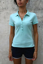 GAS WOMENS POLO STRETCH FIT  T SHIRT TOP COTTON Authentic LIGHT MENTHOL S Green