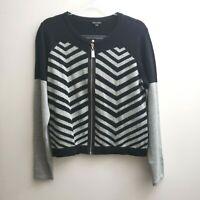 Coco + Carmen Zip Cardigan Size L/XL Black Gray Striped Sweater Women NWT