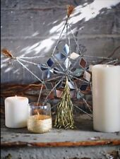 "Free People Mirror Star Christmas Tree Topper silver tinsel tassel 10"" brand new"