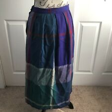 Vintage 80s Paula Saker Purple Green Lined Wool Plaid Pleated Long Skirt Size 10