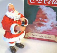 """COCA COLA SANTA Coke Bottle and Letter 7"""" Figure Fabric Mache Willitts 1989 NOS"""