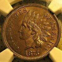 MS-62 1875 Indian Head Cent with die filing lines and CAC sticker!