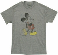 Disney Mickey Mouse Pose Distressed Grey Heather Men's T-Shirt New
