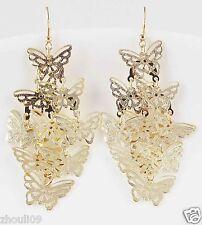 9k Yellow Gold Filled Women Elegant Rhinestone Ear Stud Dangle Earrings E497