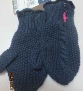 NWT Ralph Lauren Toddler Girls Cable Mittens Navy 2-4T