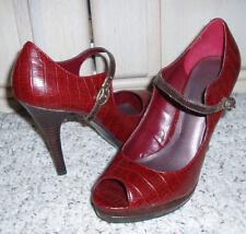 NINE & Co 'JJNADALA' High Heel Open Toe Mary Jane Heels~Red Black Croc~Size 7.5